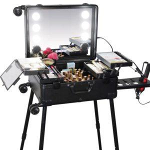 Rollbarer Make-Up Koffer mit Spiegel und LED